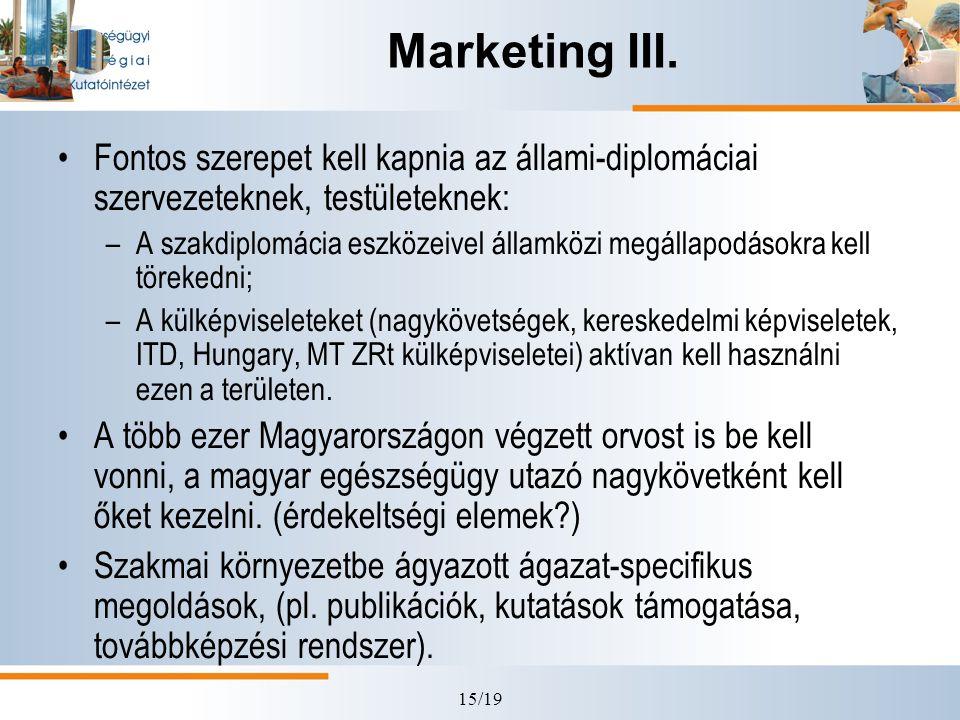 Marketing III. Fontos szerepet kell kapnia az állami-diplomáciai szervezeteknek, testületeknek: