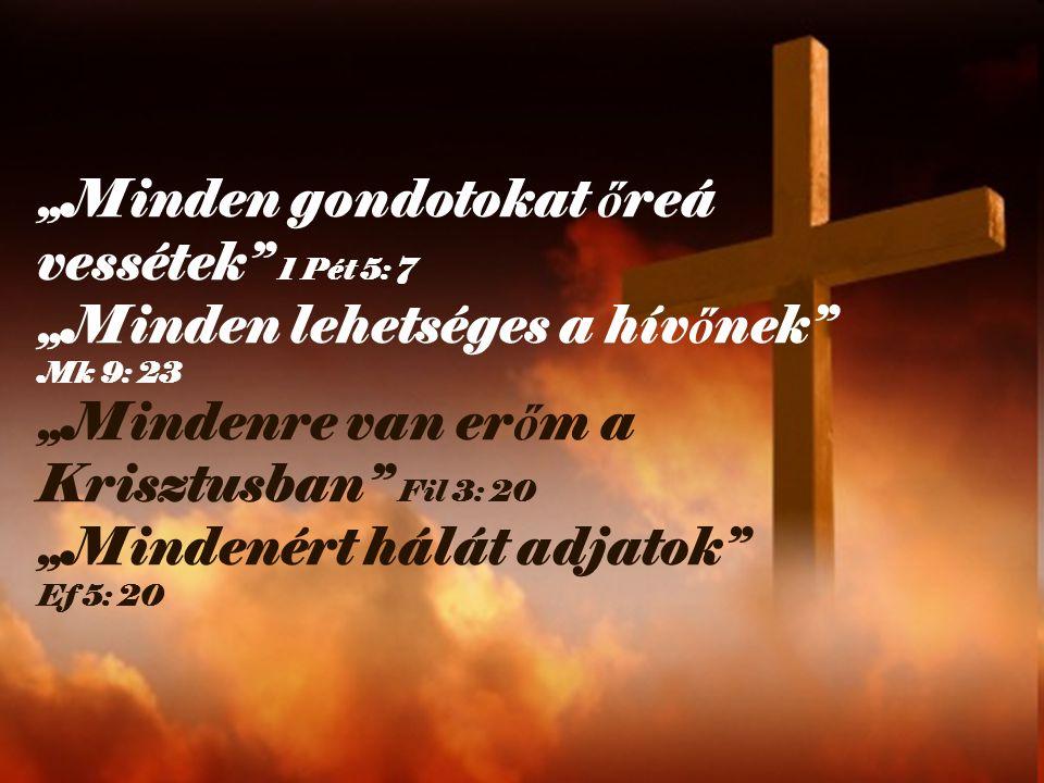 """""""Minden gondotokat őreá vessétek 1 Pét 5: 7 """"Minden lehetséges a hívőnek Mk 9: 23 """"Mindenre van erőm a Krisztusban Fil 3: 20 """"Mindenért hálát adjatok Ef 5: 20"""