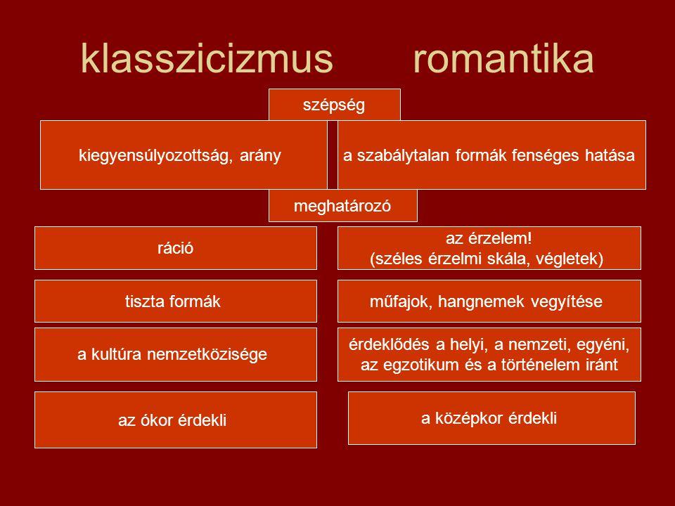 klasszicizmus romantika