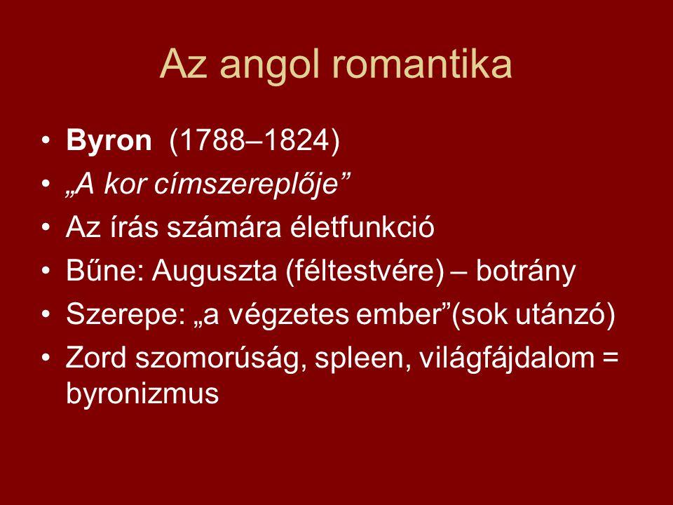 """Az angol romantika Byron (1788–1824) """"A kor címszereplője"""