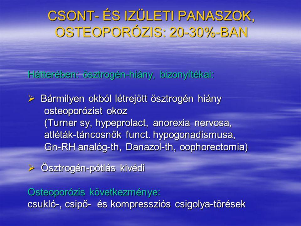 CSONT- ÉS IZÜLETI PANASZOK, OSTEOPORÓZIS: 20-30%-BAN