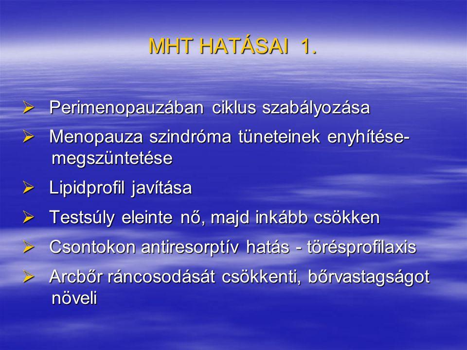 MHT HATÁSAI 1. Perimenopauzában ciklus szabályozása