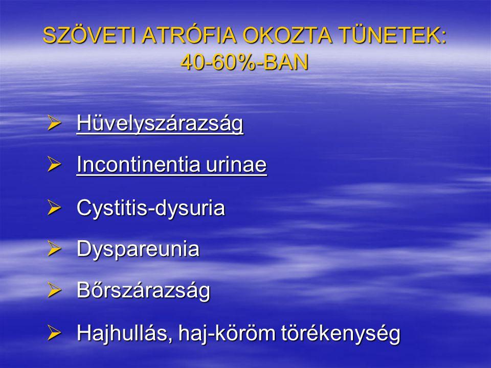SZÖVETI ATRÓFIA OKOZTA TÜNETEK: 40-60%-BAN