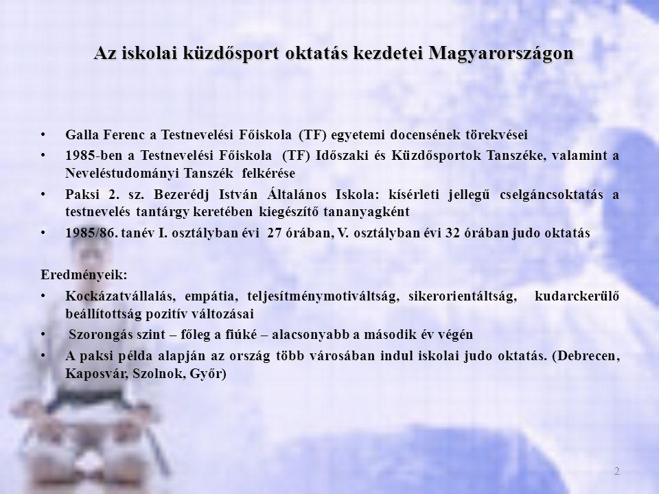 Az iskolai küzdősport oktatás kezdetei Magyarországon