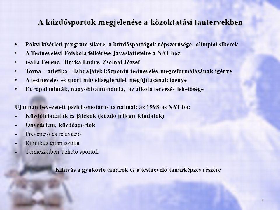 A küzdősportok megjelenése a közoktatási tantervekben