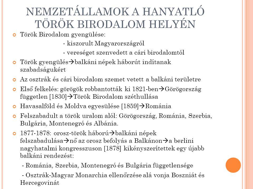 NEMZETÁLLAMOK A HANYATLÓ TÖRÖK BIRODALOM HELYÉN