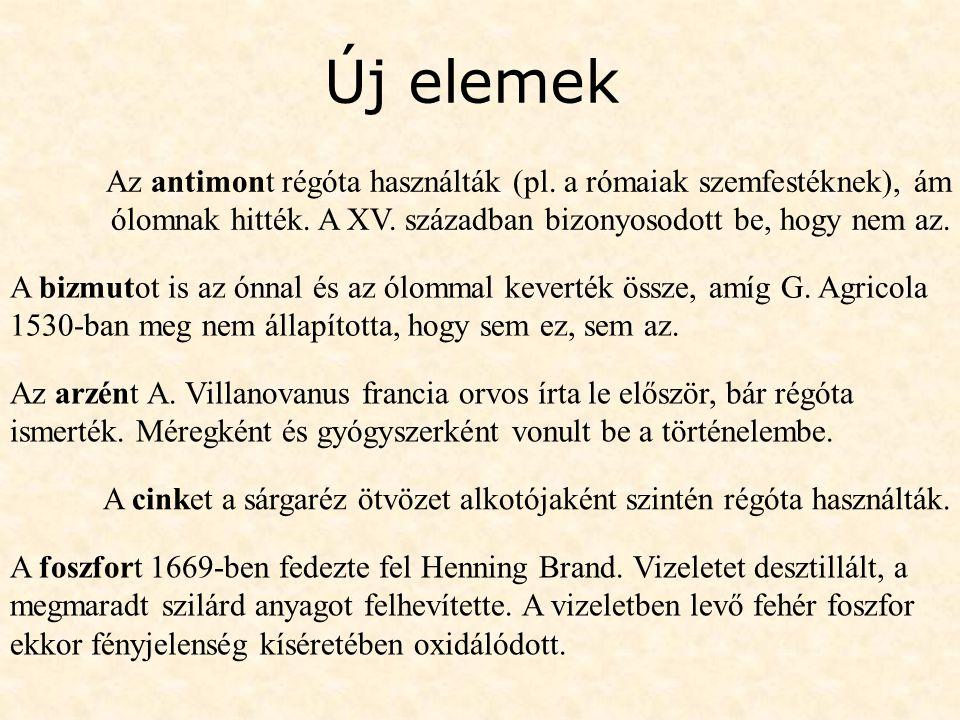 Új elemek Az antimont régóta használták (pl. a rómaiak szemfestéknek), ám ólomnak hitték. A XV. században bizonyosodott be, hogy nem az.