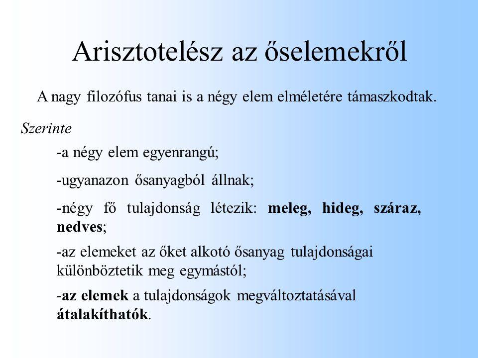 Arisztotelész az őselemekről