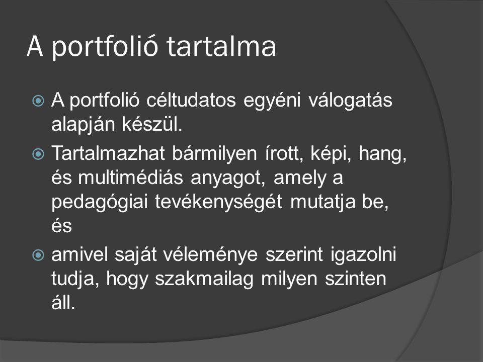 A portfolió tartalma A portfolió céltudatos egyéni válogatás alapján készül.