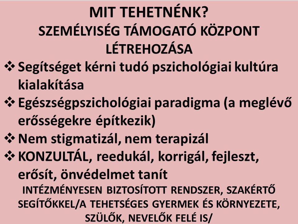 SZEMÉLYISÉG TÁMOGATÓ KÖZPONT LÉTREHOZÁSA
