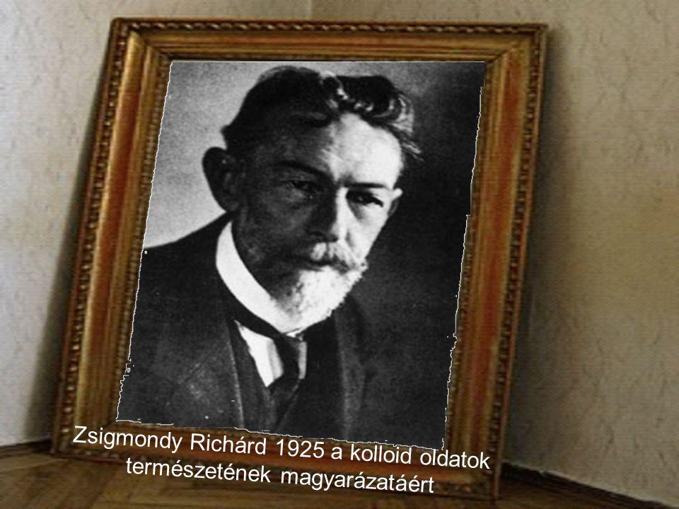 Zsigmondy Richárd 1925 a kolloid oldatok természetének magyarázatáért