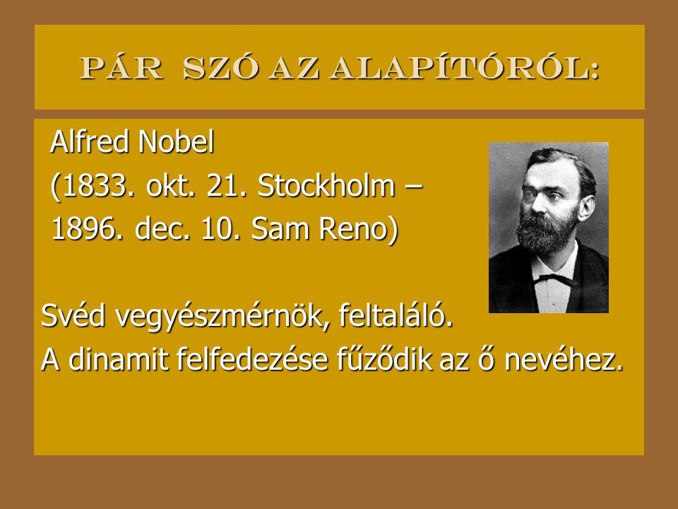 Pár szó az alapítóról: Alfred Nobel. (1833. okt. 21. Stockholm – 1896. dec. 10. Sam Reno) Svéd vegyészmérnök, feltaláló.