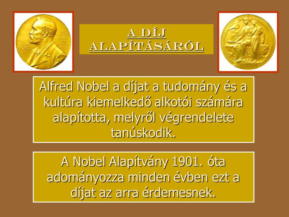 A díj alapításáról Alfred Nobel a díjat a tudomány és a kultúra kiemelkedő alkotói számára alapította, melyről végrendelete tanúskodik.