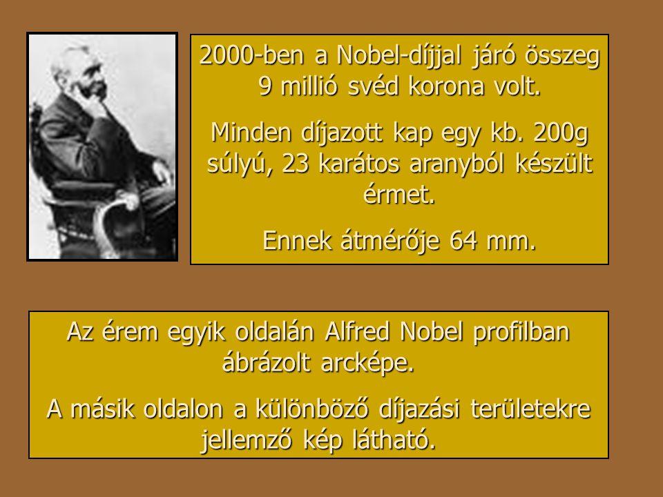 2000-ben a Nobel-díjjal járó összeg 9 millió svéd korona volt.