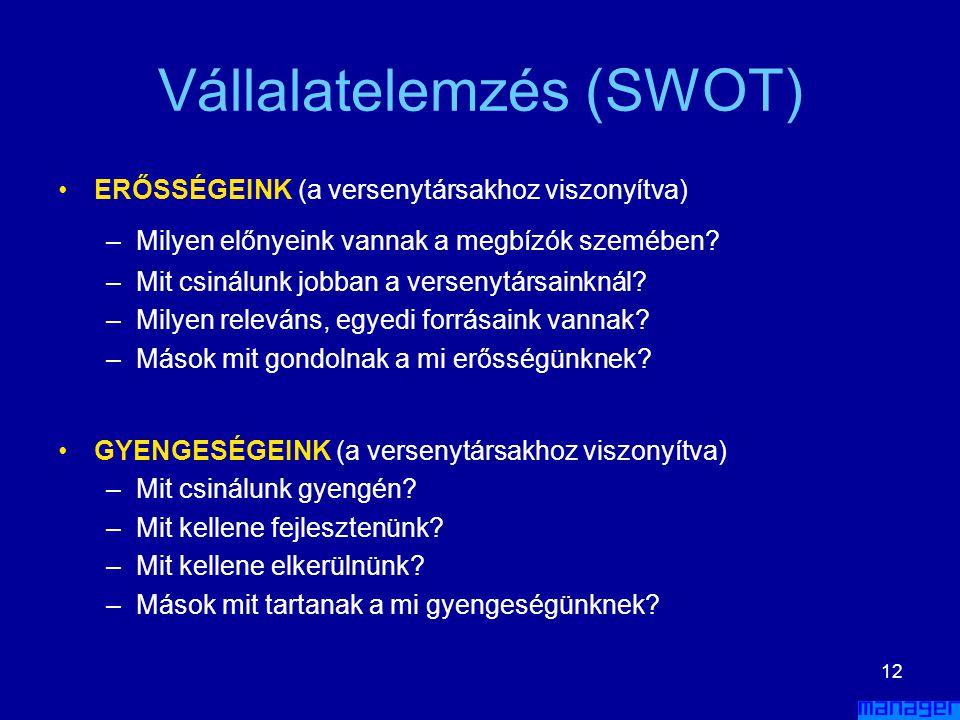 Vállalatelemzés (SWOT)