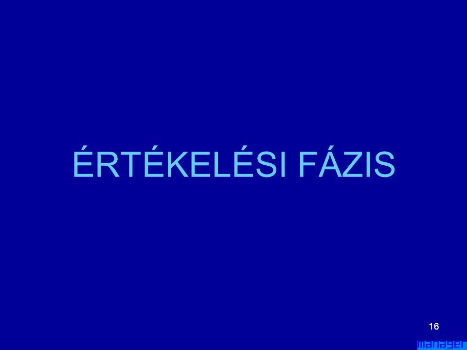 ÉRTÉKELÉSI FÁZIS