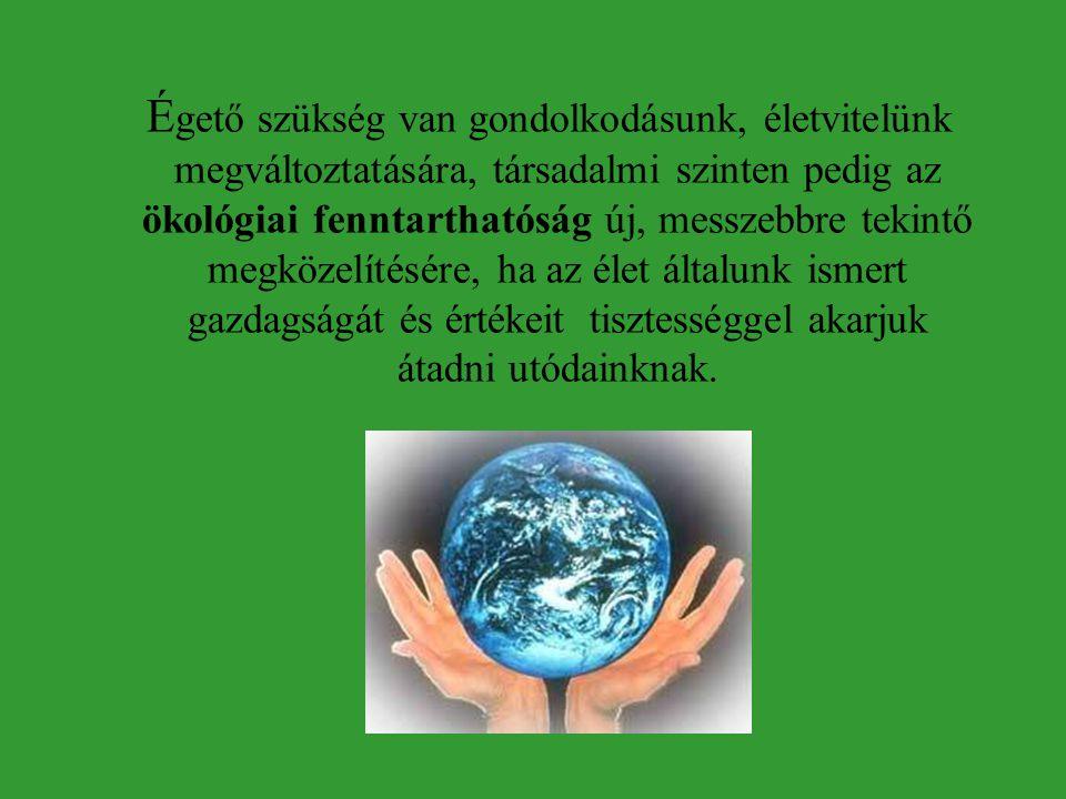 Égető szükség van gondolkodásunk, életvitelünk megváltoztatására, társadalmi szinten pedig az ökológiai fenntarthatóság új, messzebbre tekintő megközelítésére, ha az élet általunk ismert gazdagságát és értékeit tisztességgel akarjuk átadni utódainknak.