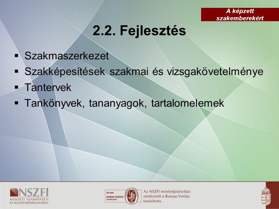 2.2. Fejlesztés Szakmaszerkezet