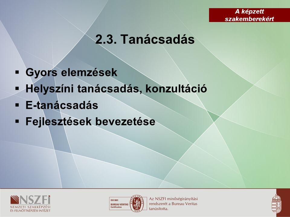 2.3. Tanácsadás Gyors elemzések Helyszíni tanácsadás, konzultáció
