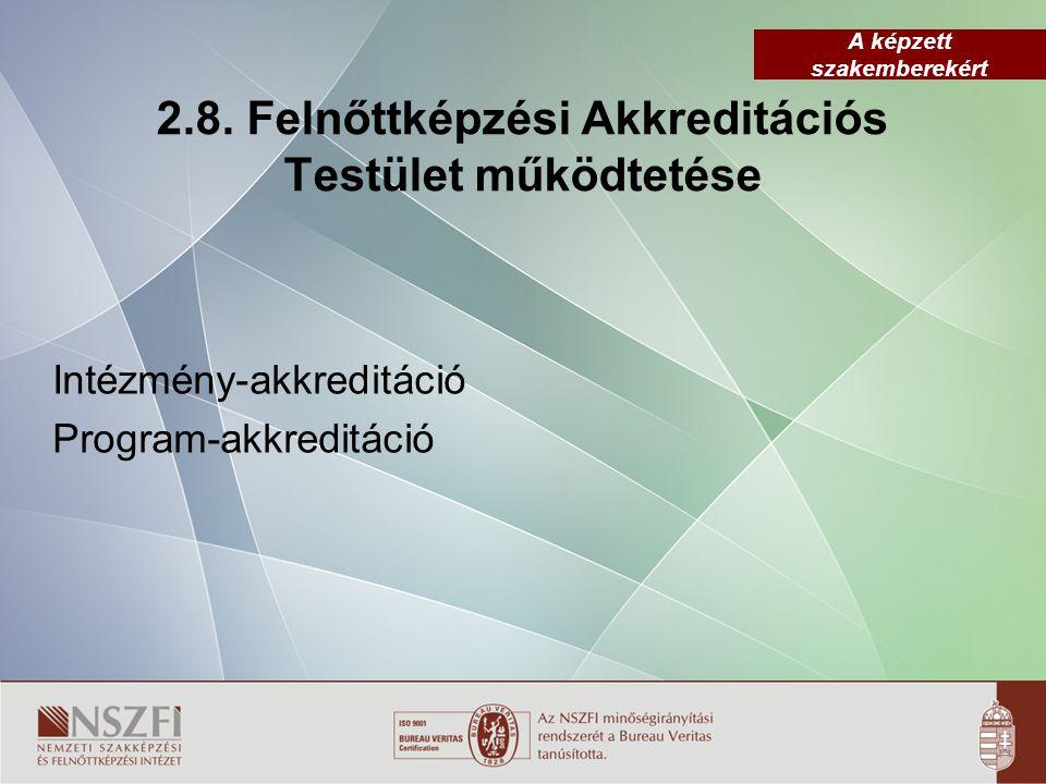 2.8. Felnőttképzési Akkreditációs Testület működtetése