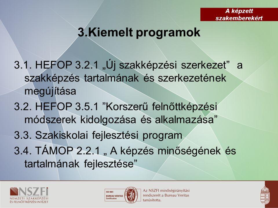 """3.Kiemelt programok 3.1. HEFOP 3.2.1 """"Új szakképzési szerkezet a szakképzés tartalmának és szerkezetének megújítása."""