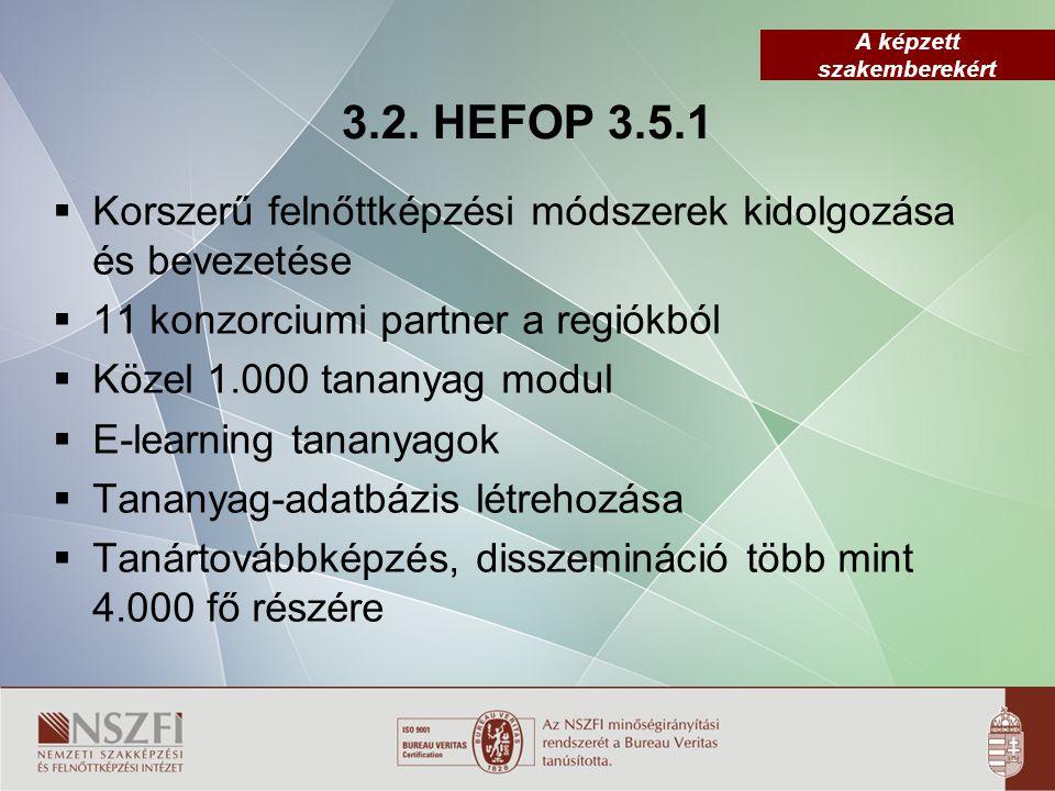 3.2. HEFOP 3.5.1 Korszerű felnőttképzési módszerek kidolgozása és bevezetése. 11 konzorciumi partner a regiókból.