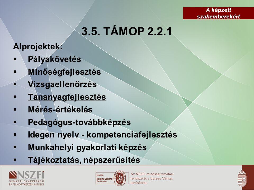 3.5. TÁMOP 2.2.1 Alprojektek: Pályakövetés Minőségfejlesztés