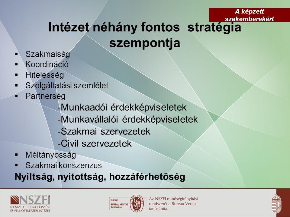 Intézet néhány fontos stratégia szempontja