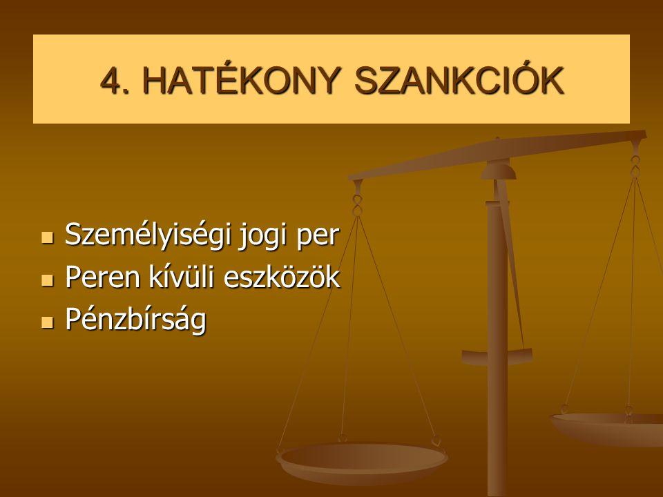 4. HATÉKONY SZANKCIÓK Személyiségi jogi per Peren kívüli eszközök