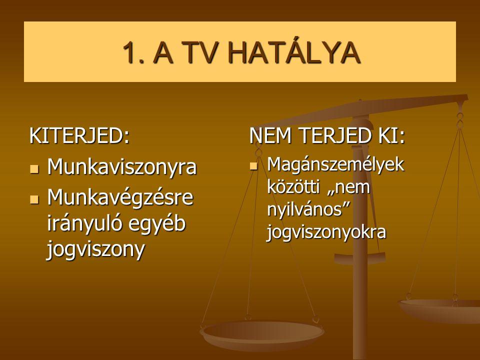 1. A TV HATÁLYA KITERJED: Munkaviszonyra