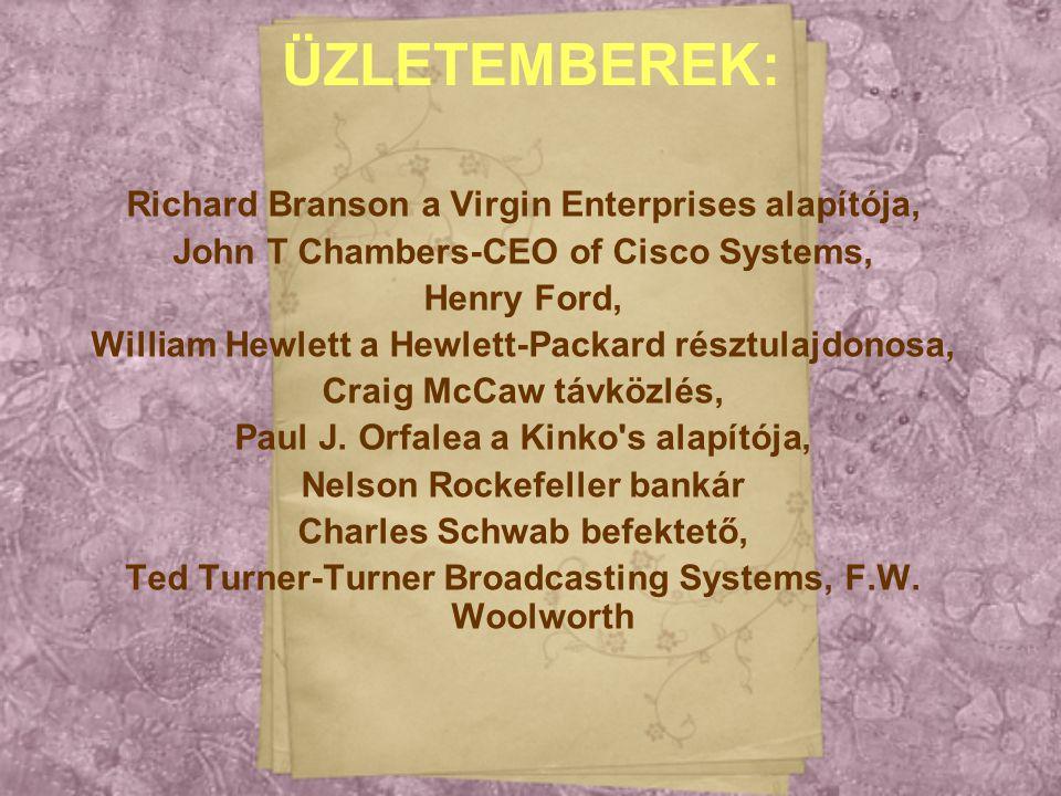 ÜZLETEMBEREK: Richard Branson a Virgin Enterprises alapítója,