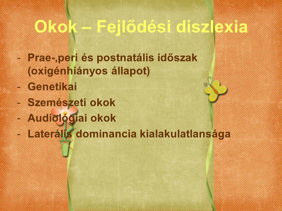 Okok – Fejlődési diszlexia