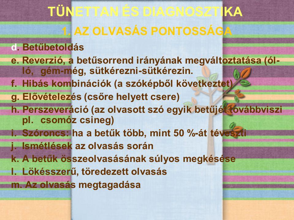 TÜNETTAN ÉS DIAGNOSZTIKA 1. AZ OLVASÁS PONTOSSÁGA