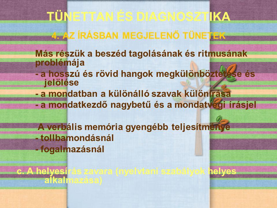 TÜNETTAN ÉS DIAGNOSZTIKA 4. AZ ÍRÁSBAN MEGJELENŐ TÜNETEK