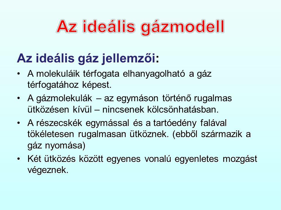 Az ideális gázmodell Az ideális gáz jellemzői: