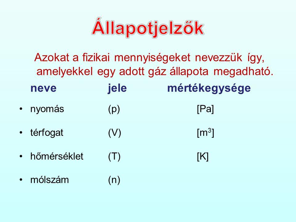 Állapotjelzők Azokat a fizikai mennyiségeket nevezzük így, amelyekkel egy adott gáz állapota megadható.