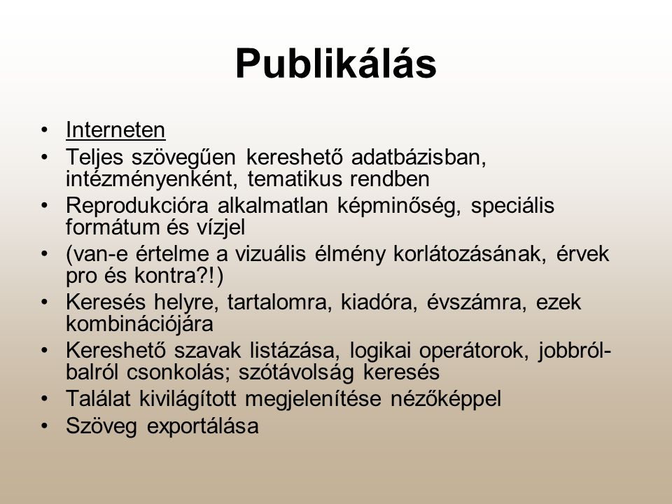 Publikálás Interneten
