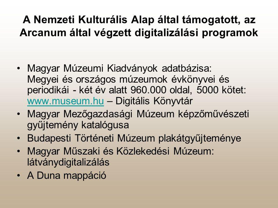 A Nemzeti Kulturális Alap által támogatott, az Arcanum által végzett digitalizálási programok