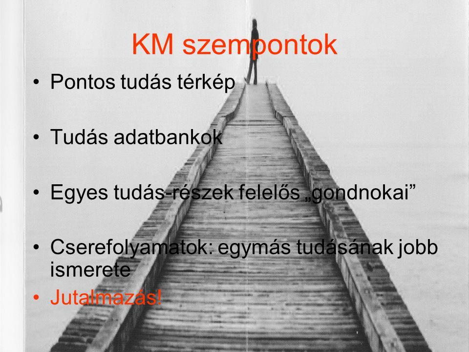 KM szempontok Pontos tudás térkép Tudás adatbankok