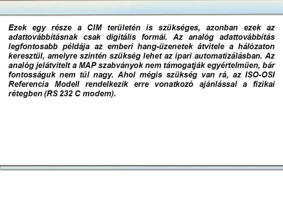 Ezek egy része a CIM területén is szükséges, azonban ezek az adattovábbításnak csak digitális formái.