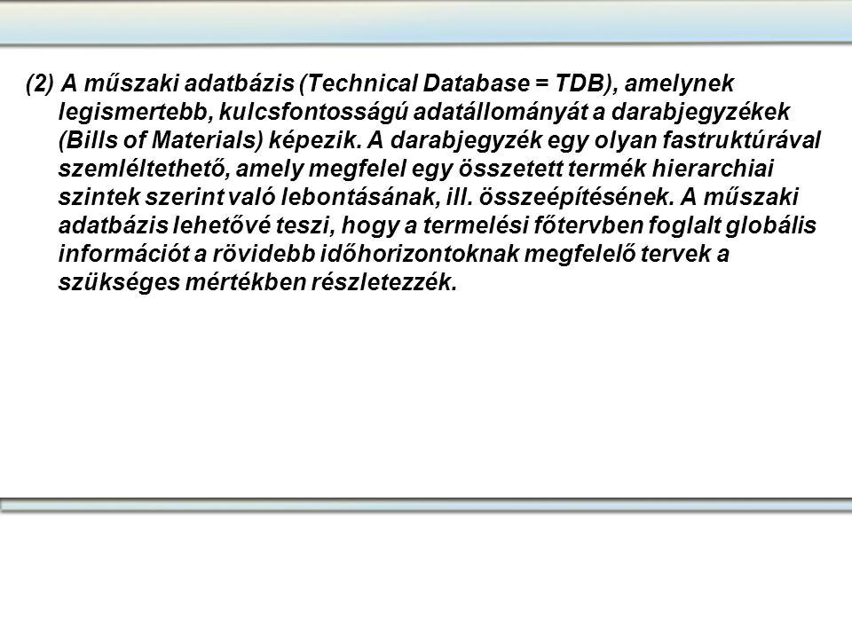 (2) A műszaki adatbázis (Technical Database = TDB), amelynek legismertebb, kulcsfontosságú adatállományát a darabjegyzékek (Bills of Materials) képezik. A darabjegyzék egy olyan fastruktúrával szemléltethető, amely megfelel egy összetett termék hierarchiai szintek szerint való lebontásának, ill. összeépítésének. A műszaki adatbázis lehetővé teszi, hogy a termelési főtervben foglalt globális információt a rövidebb időhorizontoknak megfelelő tervek a szükséges mértékben részletezzék.