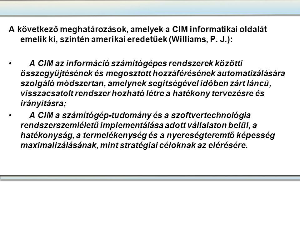 A következő meghatározások, amelyek a CIM informatikai oldalát emelik ki, szintén amerikai eredetűek (Williams, P. J.):