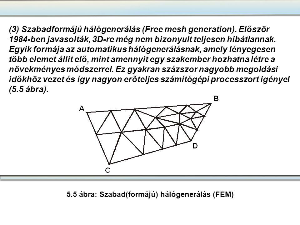 5.5 ábra: Szabad(formájú) hálógenerálás (FEM)