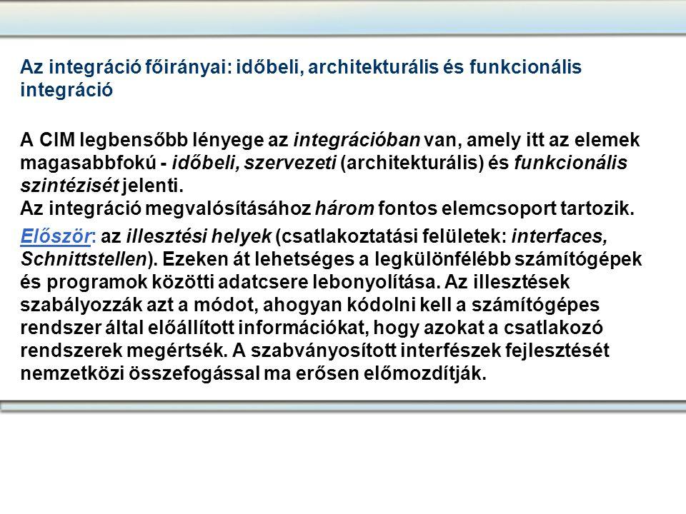 Az integráció főirányai: időbeli, architekturális és funkcionális integráció