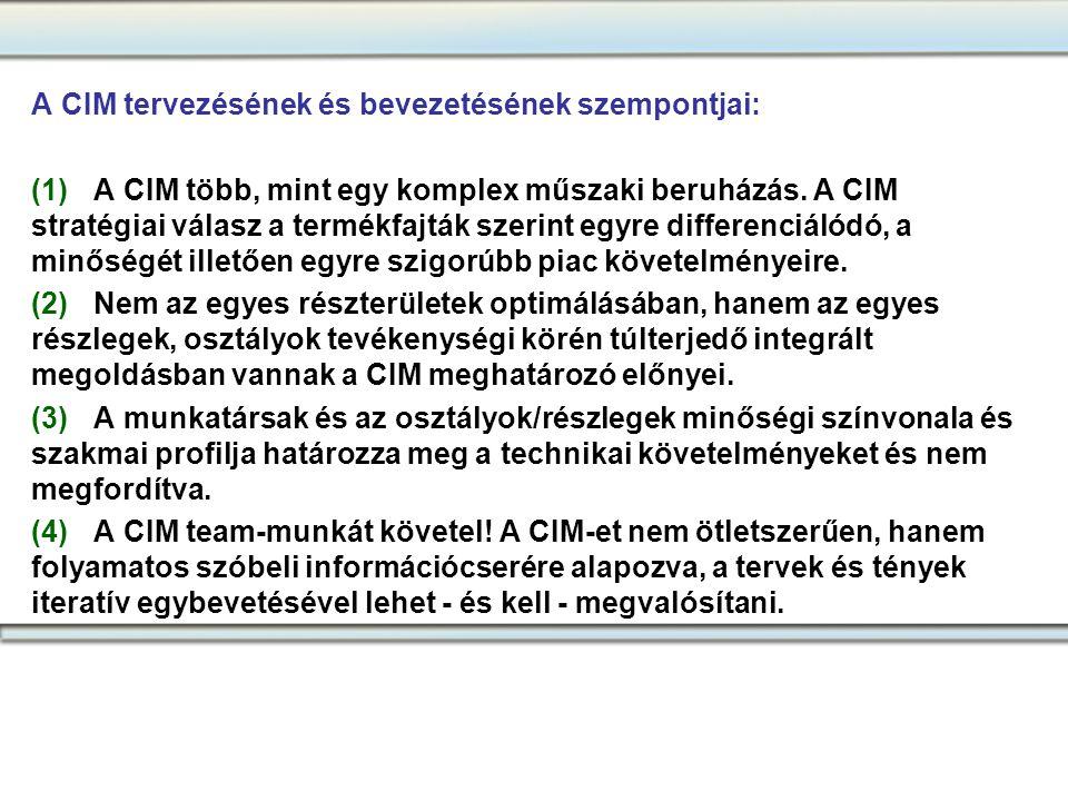 A CIM tervezésének és bevezetésének szempontjai: