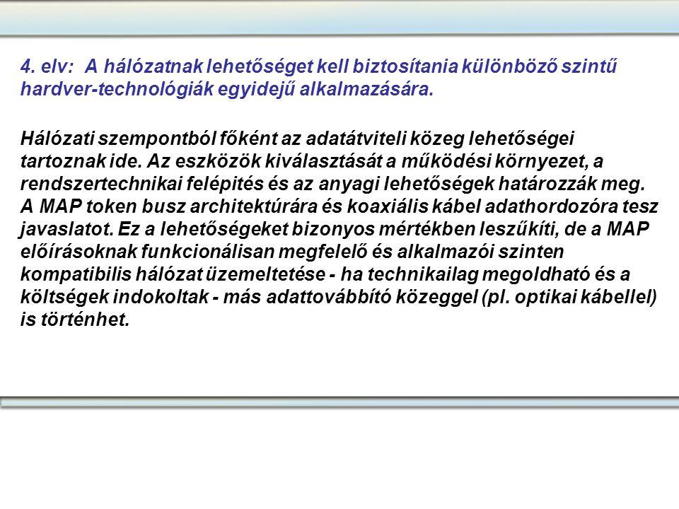4. elv: A hálózatnak lehetőséget kell biztosítania különböző szintű hardver-technológiák egyidejű alkalmazására.