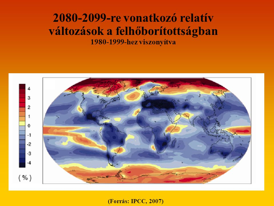 2080-2099-re vonatkozó relatív változások a felhőborítottságban
