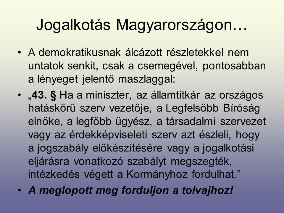 Jogalkotás Magyarországon…
