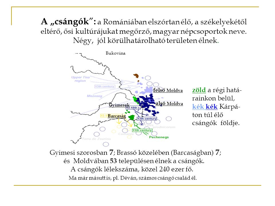 """A """"csángók : a Romániában elszórtan élő, a székelyekétől eltérő, ősi kultúrájukat megőrző, magyar népcsoportok neve."""