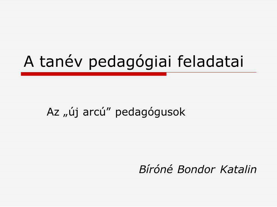 A tanév pedagógiai feladatai